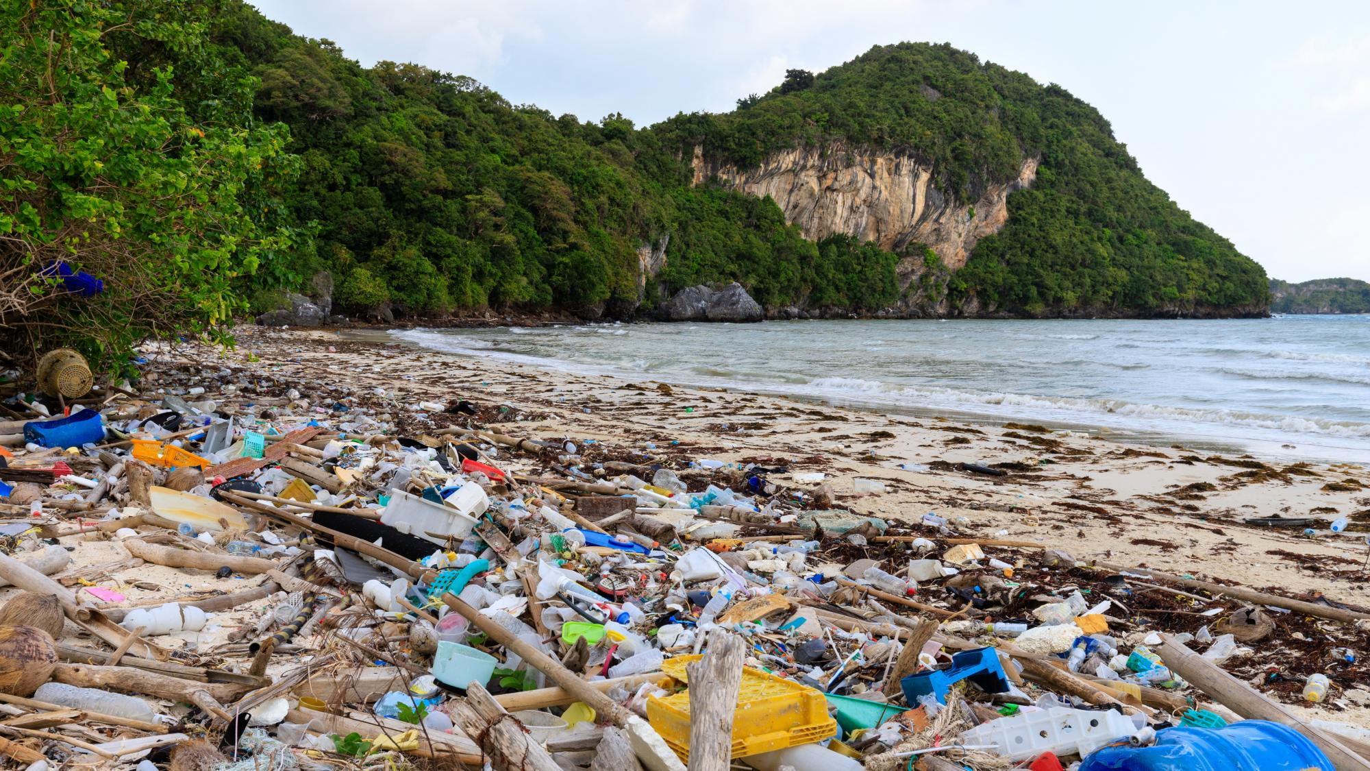 Ocean-bound plastic debri on a beach in southeast Asia